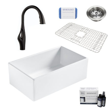 bradstreet II white fireclay sink, kai faucet, basket strainer drain, bottom grid, scrubber, and fireclay careIQ kit