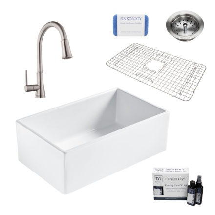 bradstreet II white fireclay sink, pfirst faucet, basket strainer drain, bottom grid, scrubber, and fireclay careIQ kit