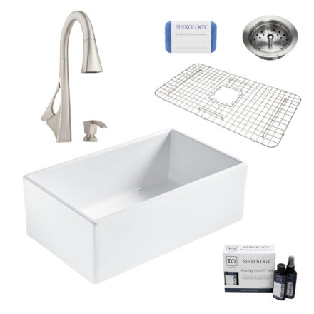 bradstreet II white fireclay sink, venturi faucet, basket strainer drain, bottom grid, scrubber, and fireclay careIQ kit