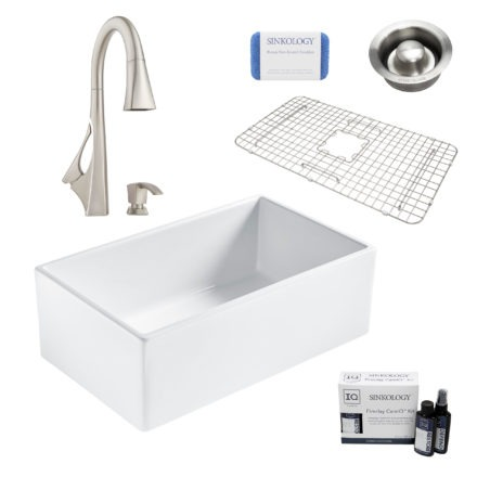 bradstreet II white fireclay sink, venturi faucet, disposal drain, bottom grid, scrubber, and fireclay careIQ kit