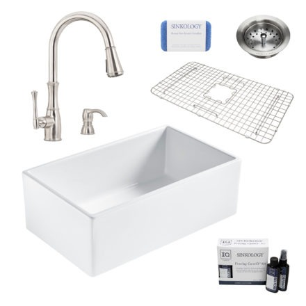 bradstreet II white fireclay sink, wheaton faucet, basket strainer drain, bottom grid, scrubber, and fireclay careIQ kit