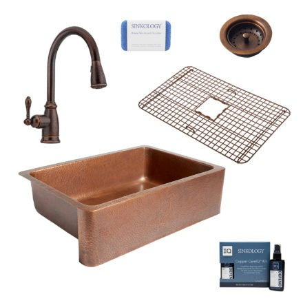 adams copper kitchen sink, canton rustic bronze faucet, bottom grid, basket strainer drain, copper care IQ kit, scrubber