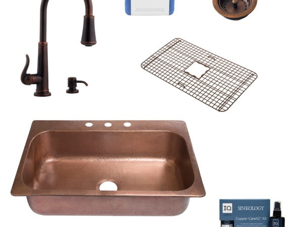 angelico copper kitchen sink, ashfield rustic bronze faucet, bottom grid, basket strainer drain, copper care IQ kit, scrubber