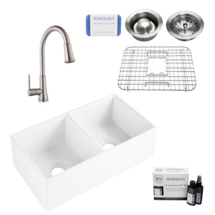 brooks II fireclay double bowl sink, pfirst faucet, stainless steel bottom grid, basket drain, disposal drain, careIQ kit, scrubber