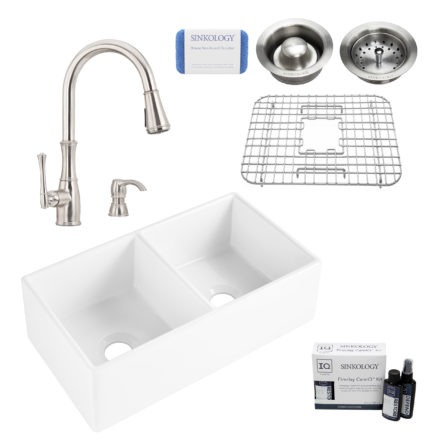 brooks II fireclay double bowl sink, wheaton faucet, stainless steel bottom grid, basket drain, disposal drain, careIQ kit, scrubber