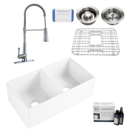 brooks II fireclay double bowl sink, zuri faucet, stainless steel bottom grid, basket drain, disposal drain, careIQ kit, scrubber
