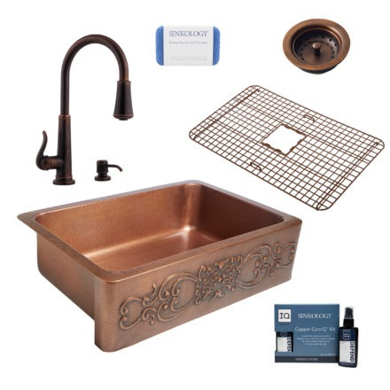 ganku copper kitchen sink, ashfield faucet, basket strainer drain, copper care IQ kit, scrubber
