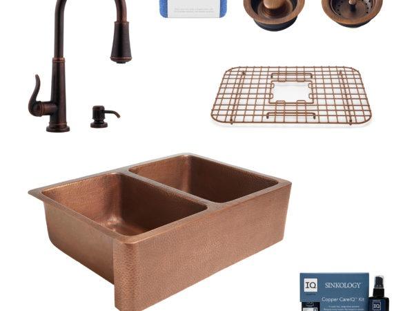 rockwell copper kitchen sink, ashfield rustic bronze faucet, bottom grid, basket strainer drain, disposal drain, copper care IQ kit, scrubber