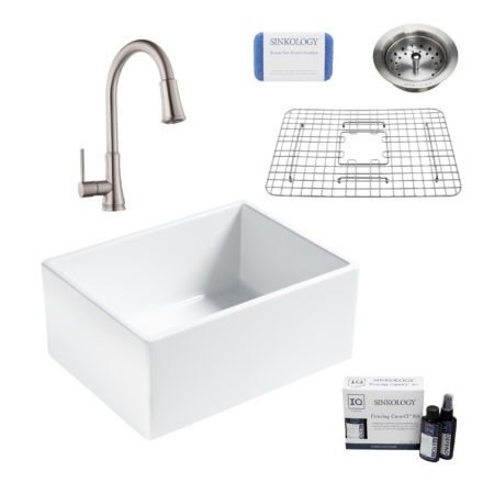 wilcox II fireclay double bowl sink, pfirst faucet, stainless steel bottom grid, strainer drain, careIQ kit, scrubber