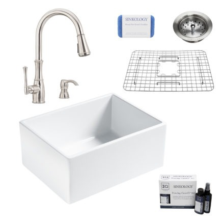 wilcox II fireclay double bowl sink, wheaton faucet, stainless steel bottom grid, strainer drain, careIQ kit, scrubber
