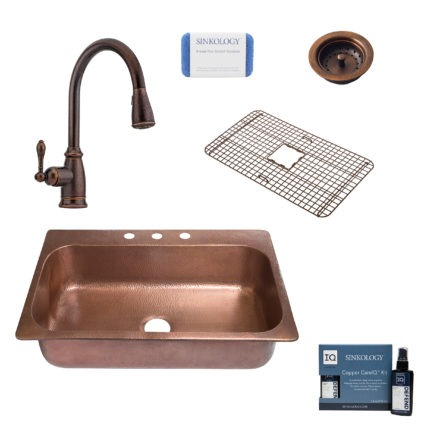 angelico copper kitchen sink, canton faucet, basket strainer drain, copper care IQ kit, scrubber