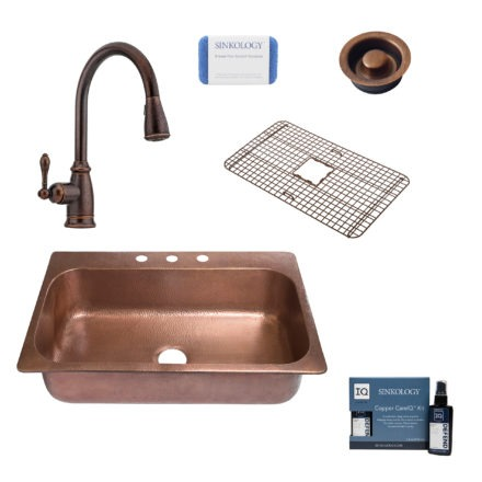 angelico copper kitchen sink, canton faucet, disposal drain, copper care IQ kit, scrubber