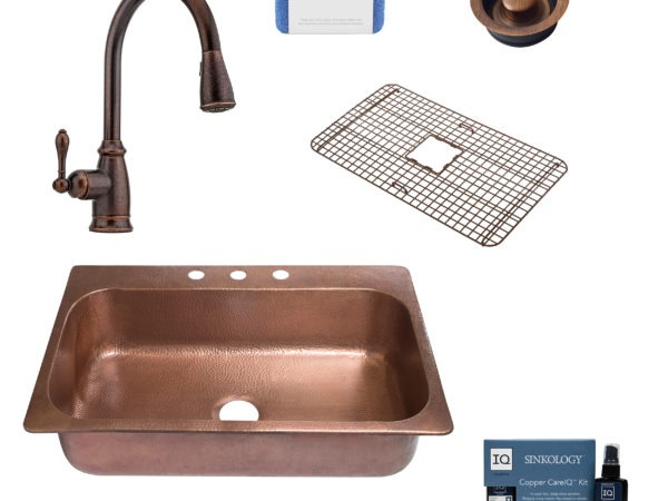 angelico copper kitchen sink, canton faucet, disposal drain, copper care IQ kit, scrubber