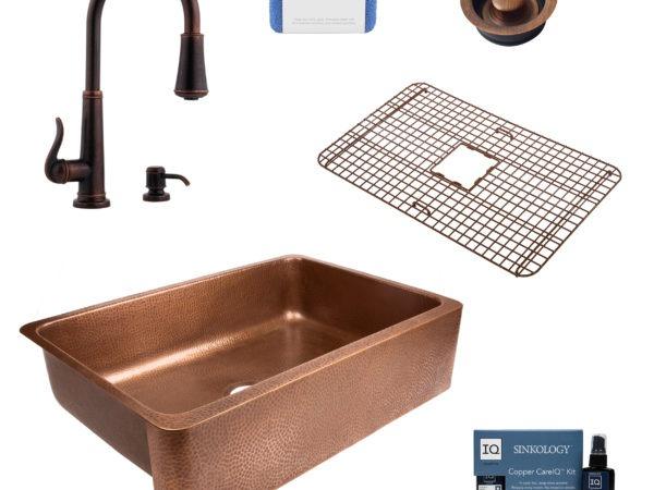 lange copper kitchen sink, ashfield faucet, bottom grid, disposal drain, copper care IQ kit, scrubber