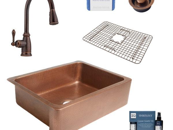 courbet copper kitchen sink, canton faucet, disposal drain, bottom grid, copper care IQ kit, scrubber