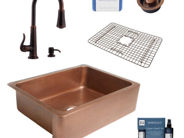 courbet copper kitchen sink, ashfield faucet, disposal drain, bottom grid, copper care IQ kit, scrubber