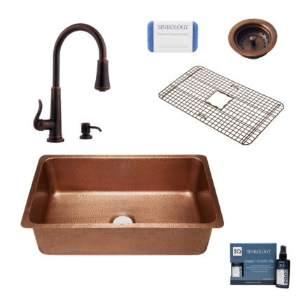 david copper kitchen sink, ashfield faucet, basket strainer drain, bottom grid, copper care IQ kit, scrubber