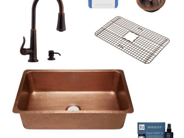 david copper kitchen sink, ashfield faucet, basket strainer drain, bottom grid, copper care IQ kit, scrubber