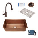 david copper kitchen sink, canton faucet, bottom grid, basket strainer drain, copper care IQ kit, scrubber