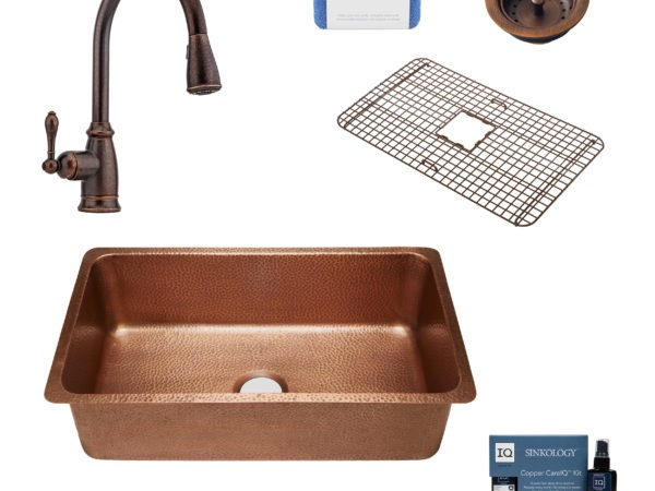 david copper kitchen sink, canton faucet, bottom grid, basket strainer drain, copper care IQ kit, scrubber