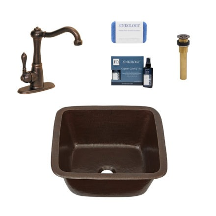 greco copper bar prep sink, marielle faucet, grid drain, copper care IQ kit, scrubber