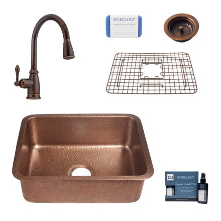 renoir copper kitchen sink, canton faucet, basket strainer drain, bottom grid, copper care IQ kit, scrubber
