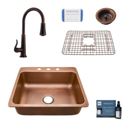 rosa 3 hole copper kitchen sink, ashfield faucet, basket strainer drain, bottom grid, copper care IQ kit, scrubber