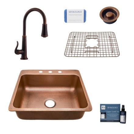rosa 3 hole copper kitchen sink, ashfield faucet, disposal drain, bottom grid, copper care IQ kit, scrubber