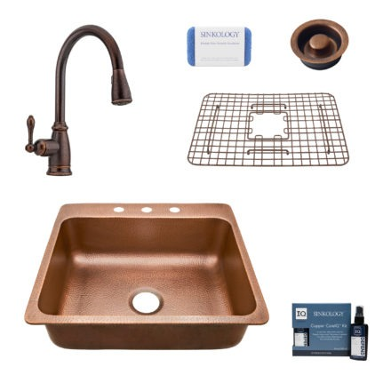 rosa 3 hole copper kitchen sink, canton faucet, bottom grid, disposal drain, copper care IQ kit, scrubber