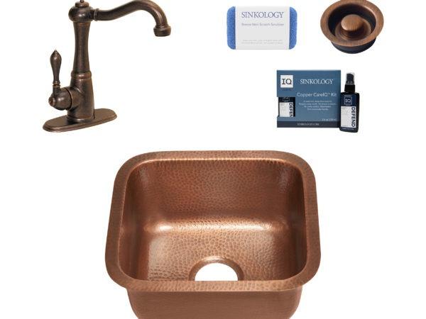 sisley copper bar prep sink, marielle faucet, disposal drain, copper care IQ kit, scrubber