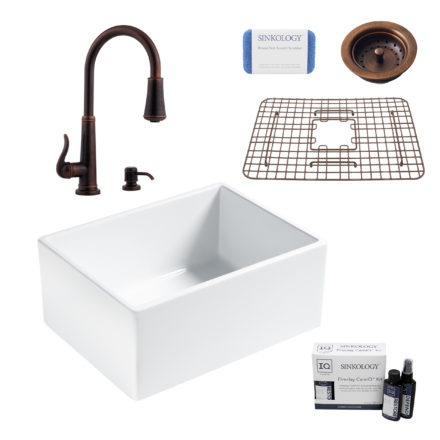 wilcox ii fireclay kitchen sink, ashfield faucet, basket strainer drain, fireclay care IQ kit, scrubber