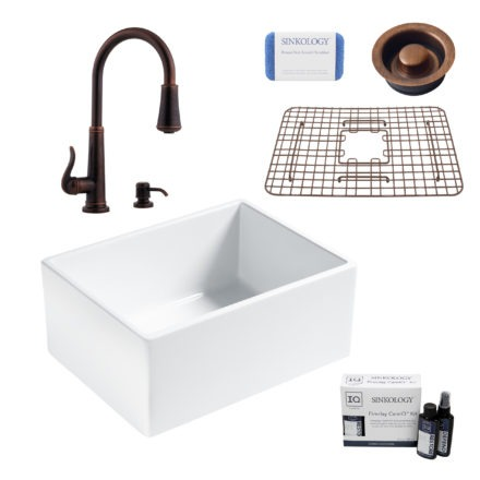 wilcox ii fireclay kitchen sink, ashfield faucet, disposal drain, fireclay care IQ kit, scrubber