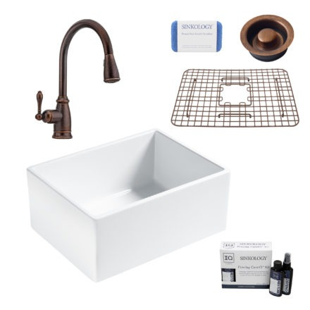 wilcox ii fireclay kitchen sink, canton faucet, disposal drain, fireclay care IQ kit, scrubber