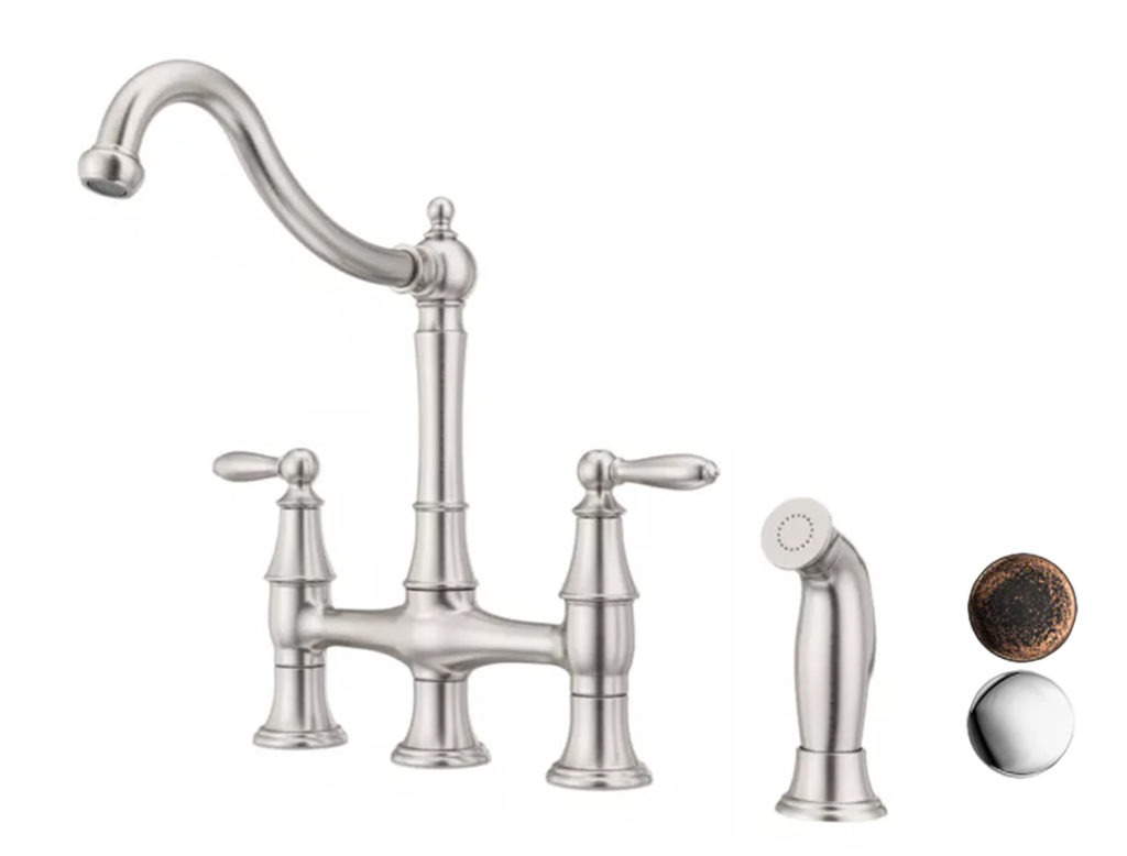 Bridge faucet with two other finishes