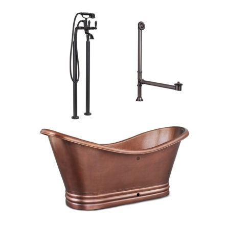 freestanding bathtub with tub filler and overflow drain