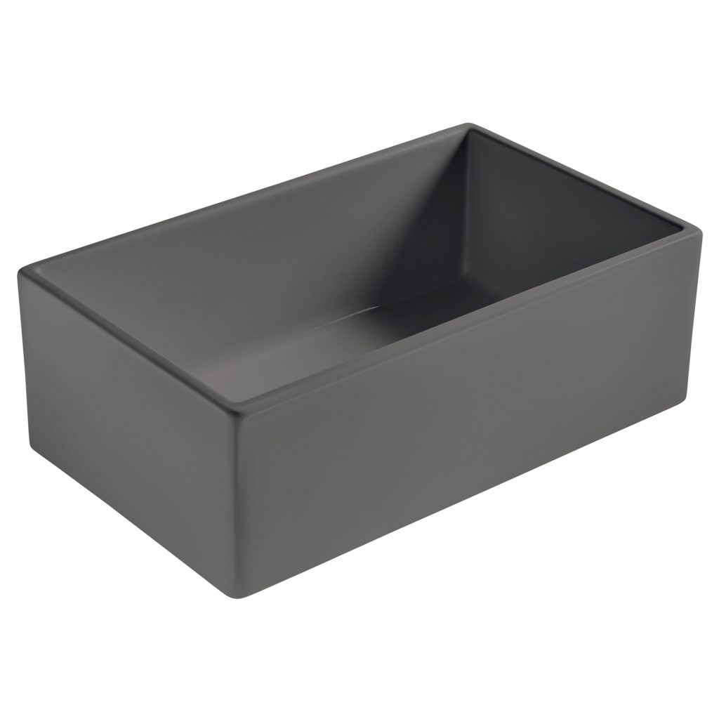matte gray farmhouse fireclay sink