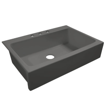 matte gray drop-in fireclay sink