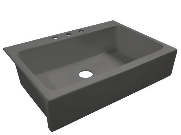 matte gray drop-in fireclay sink