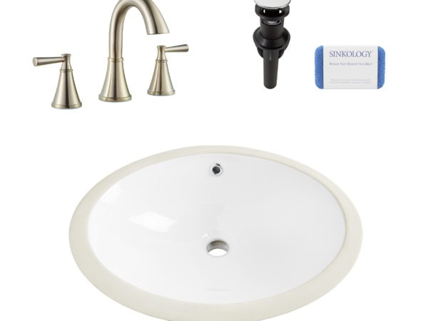 vitreous china bath sink, faucet, drain, scrubber