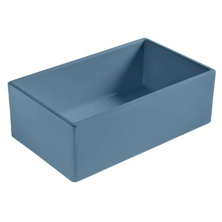 matte blue farmhouse fireclay sink