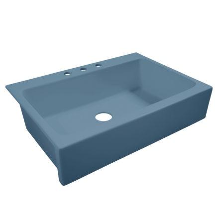 matte blue drop-in fireclay sink