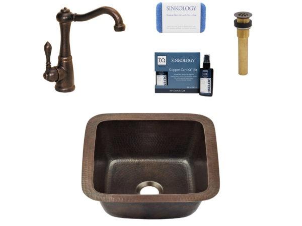 copper sink, faucet, drain, copper careIQ kit, scrubber