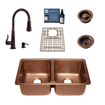 copper sink, faucet, bottom grid, drain, copper careIQ kit, scrubber