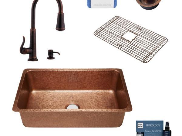 copper sink, faucet, bottom grid, drain, copper careIQ kit, scrubber