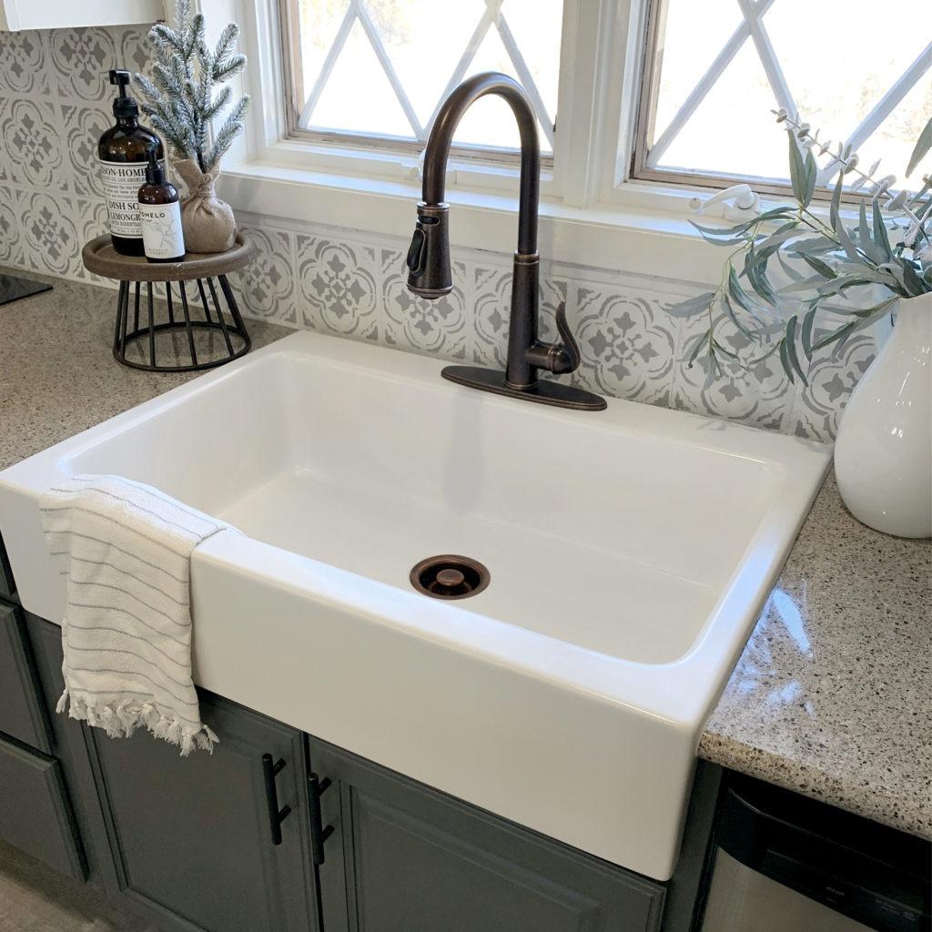 matte white drop-in fireclay sink