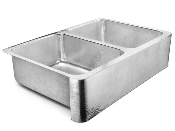 polished crafted stainless steel double bowl farmhouse sink