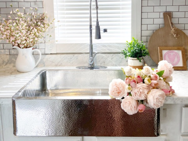 Crafted Stainless Steel Kitchen Sink with flowers