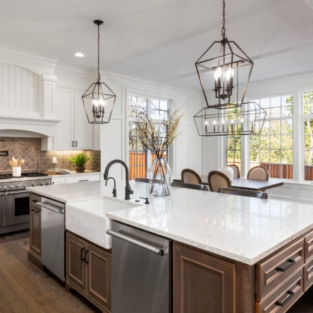 modern kitchen with mixed fixtures