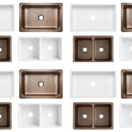 a collage of fireclay and copper sinks