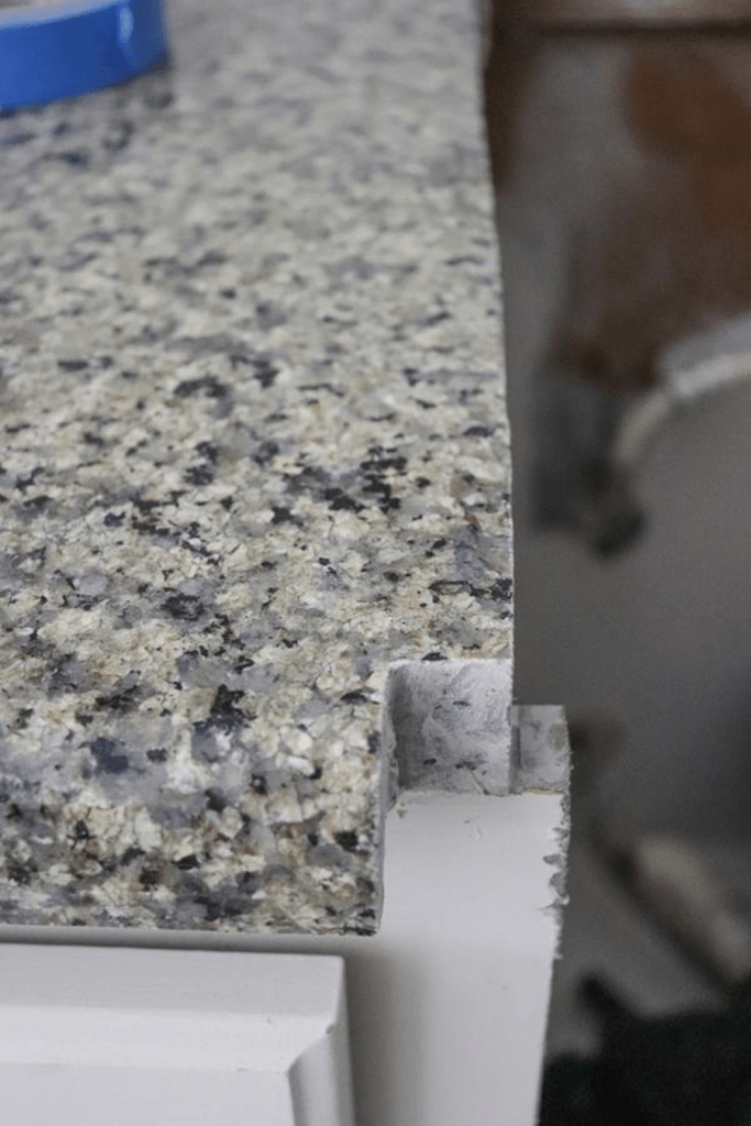 cut corner of countertop